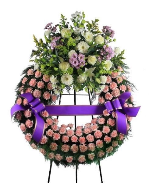 Corona Funeraria de tonos rosados