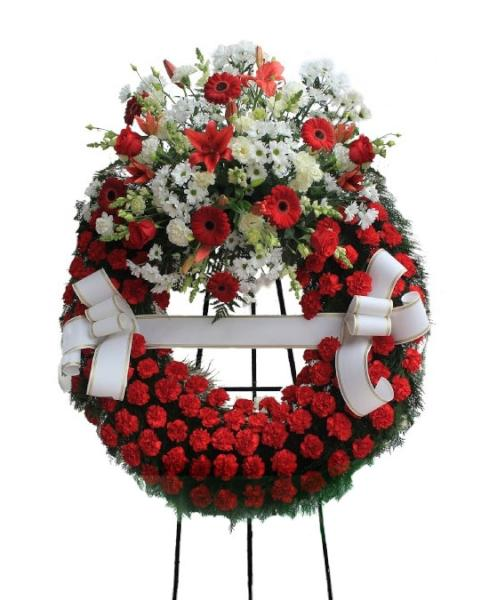 Corona Funeraria tonos rojos