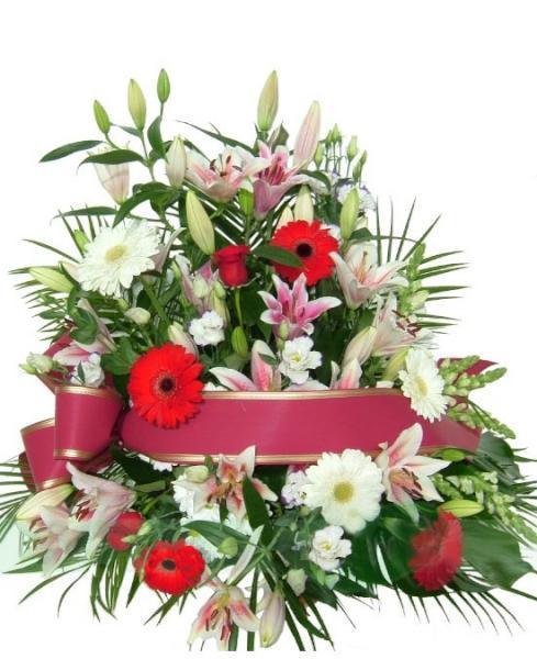 Centro funerario tonos rojo y blanco