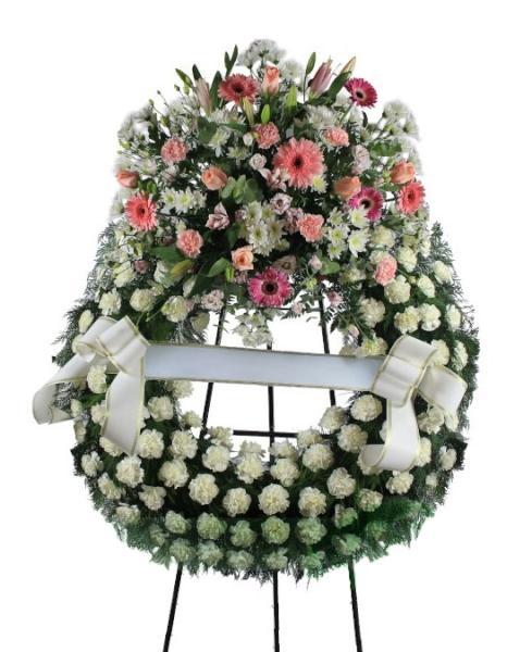 Corona Funeraria de tonos blancos